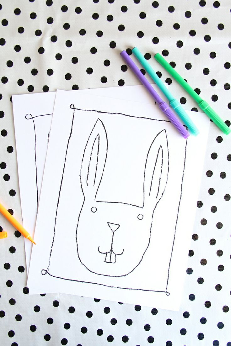 Free Printables: Easter Bunny Coloring Pages and Stickers