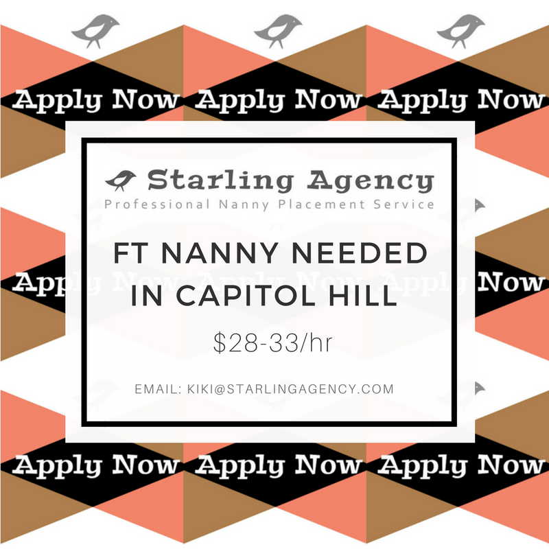 Apply Now: Full Time Nanny in Capitol Hill