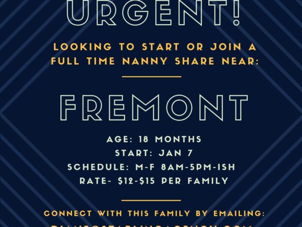 Join our Nanny Share in Fremont!