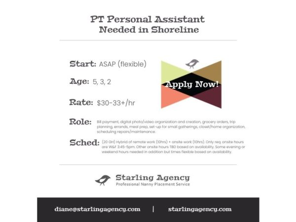 NOW HIRING: Personal Assistant in Shoreline